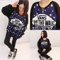 2015 Fashion New Women Skateboard Star Letter Sweatshirts Long SLeeve Hoodies Galaxy Tops
