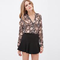 2015 sexy slim tropical digital print stand collar long sleeve chiffon shirt women blouses roupas blusas femininas plus size
