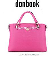 New 2015 Donbook Brand Fashion Womens Handbags Solid Zipper Ladies Boston Bag PU Leather Rivet Women's Messenger Bag