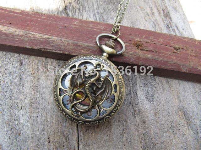 Vintage Style Bronze Steampunk Pendant Chain Clock Quartz Pocket dragon pocket watch pendant necklace with charm chain jewelry(China (Mainland))