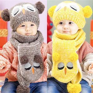 Portable Popular Set Winter Baby Hat Boy Girl Kids Warm Hat Cap + Scarf 1--5 Years(China (Mainland))