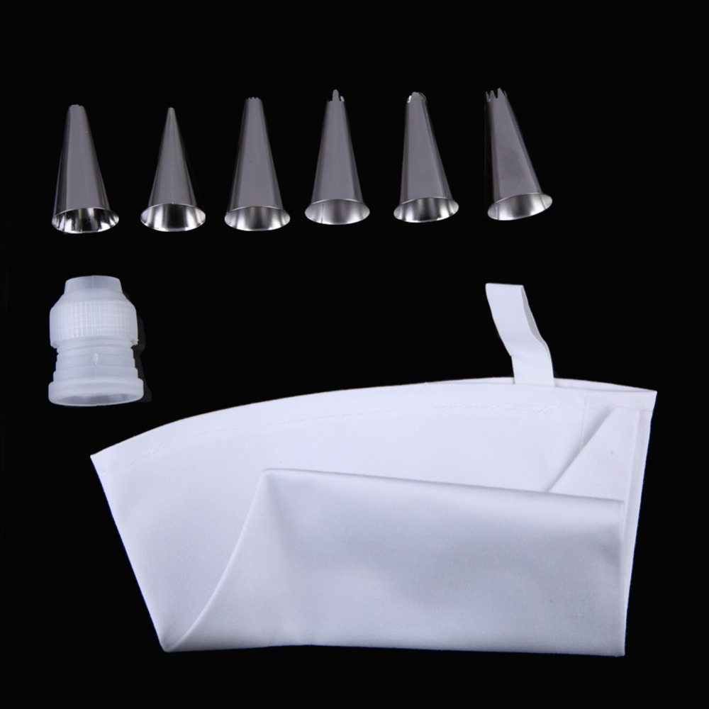 Cake Fondant Pastry Icing Cream Decorating Bag Piping Nozzles 6 Coupler S free Shipping(China (Mainland))