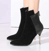 Новый рома обувь стороны молния супер большой упругой сапоги размер 34-47 женщин середины пятки заостренный носок натяните колено высокие загрузки