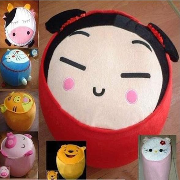 FY- Cartoon Style Villus Inflatable Stools Pouf Chair Seat Bedroom +Pump Load 100kg(China (Mainland))