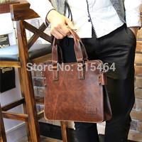 Korean designer brand business mens briefcase vintage PU Crazy Horse leather laptop shoulder bags bolsas desigual bags for man