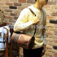 Fashion designer brand PU Crazy Horse leather vintage mens messenger bags Cylinder shape casual postman bag schoolbags