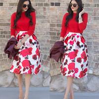 Women Satin Skirts 2015 Trendy Female Vintage Floral Printed Pleated Midi Skirts Fashion Women Girls Skirt Plus Size XXL 141220