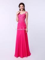 2015 Long Elegant Fuschia V Neck Women Prom Dress Plus Size Chiffon Sparkle Real Image Evening Gown Party dresses