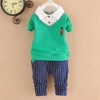4set/lot baby sets girls boys shirts+pants cotton 2015 spring kids sets 2pcs children clothing 751