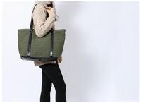 AC624 Cozy Casual woman lady bicolor cotton Canvas Shopper large size Tote bag handbag shoulder bag black sapphire blue
