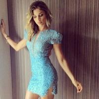vestidos 2014 New Fashion Casual Lace Dress Women V-neck Slim Hip Bodycon Bandage Dress sexy Cute casual Dresses blue LD39003
