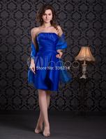 2015 Short Royal Blue Elegant Strapless Women Prom Dress Plus Size Chiffon Sparkle Real Image Evening Gown Party dresses