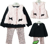 Retail Baby Girl Rompers Kids Clothing set infant Vest+Outerwear+leggings Baby Wear Suits Carters Pajamas for girls