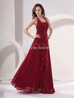 2015 Long Halter Elegant Women Prom Dress Plus Size Chiffon Sparkle Real Image Evening Gown Party dresses