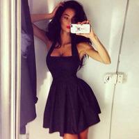 casual dress 2015 vestidos women dress Hot new European and American fashion sexy black mini dress sleeveless vestidos femininos