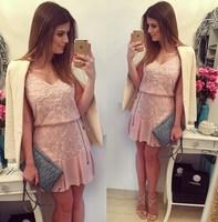 vestidos 2015 women dress Hot supply fashion lady sleeveless V-neck chiffon mini dress embroidered stitching casual dress