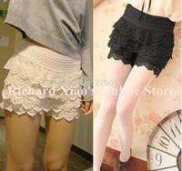 1 Pcs 2015 Hot Fashion High Waist Multilayer Lace Hollow Out Mini Lace Skirt Shape Pants Tiered Shorts Crochet Elastic Slim