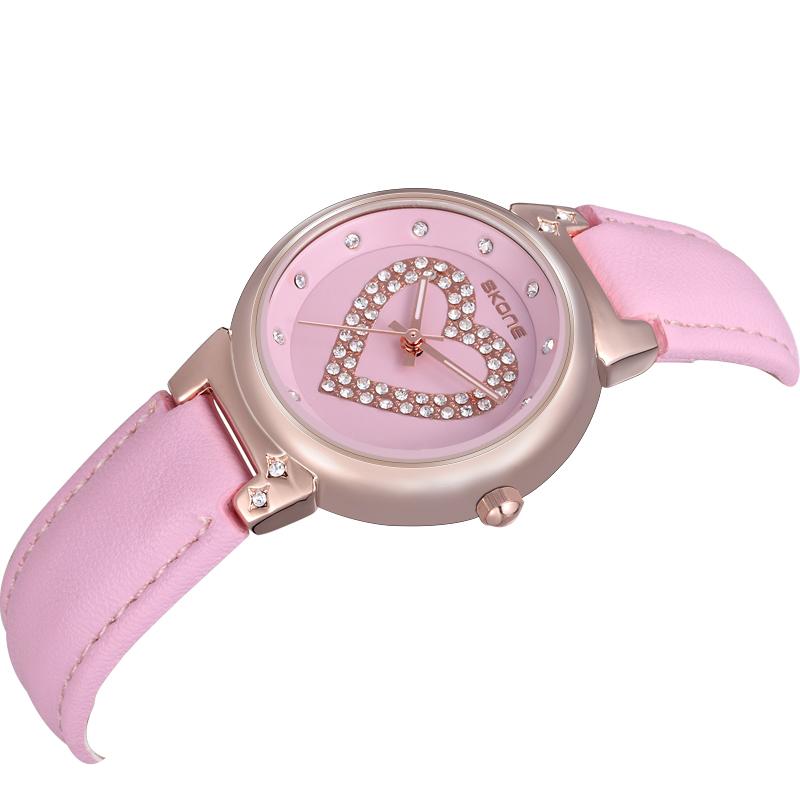SKONE Luxury Women Genuine Leather Strap Watches With Rhinestone Love Women Dress Wristwatches Japan Quartz Watch Christmas Gift(China (Mainland))