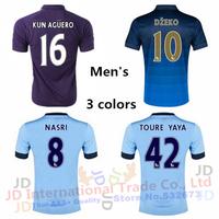 Camisa Manchester 14 15 Soccer Jerseys,City 2015 KUN AGUERO SILVA TOURE YAYA Lampard Football Jersey Shirt home blue third away
