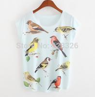 Hot selling! 2015 summer new women's short sleeve T-shirt printing T-shirts cute bird