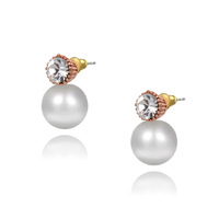 2015 New Arrival High Quality Gold Plated Pearl Beads Earrings Rhinestone Crystal Earrings For Women # FL-RE58