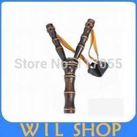 DHL Shipping 100pcs  Bamboo Style Wood Wooden Sling Shot Toys Slingshot Bow Catapult Hunting