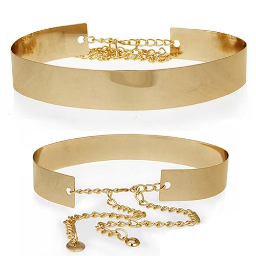 The chain sheet metal version mirror wide belt ladies 006M decorative waistband(China (Mainland))