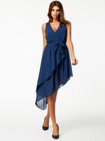new sexy lace bow waist asymmetric dress