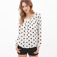 2015 Fashion pump back strap black white polka dot  lantern sleeve chiffon shirt women blouse roupas blusas femininas plus size