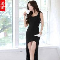 2015 New Party Dresses Vestidos Femininos Vestido De Renda Mt6210 Sexy Medium-long One-piece Dress Tight Hip Low-high Slim Vest
