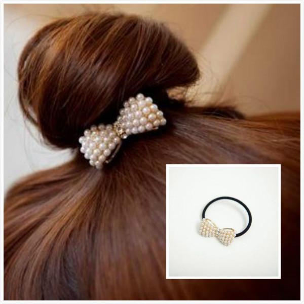 Women hair Accessories Fashion Lovely Pearl Bow Bowknot Hair Band Hair Clip Elastic Hair Accessories(China (Mainland))
