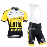 New 2015 Yellow full zip cycling jersey cycling wear + Bib shorts set  breathable quick dry men cycling clothing BF7787