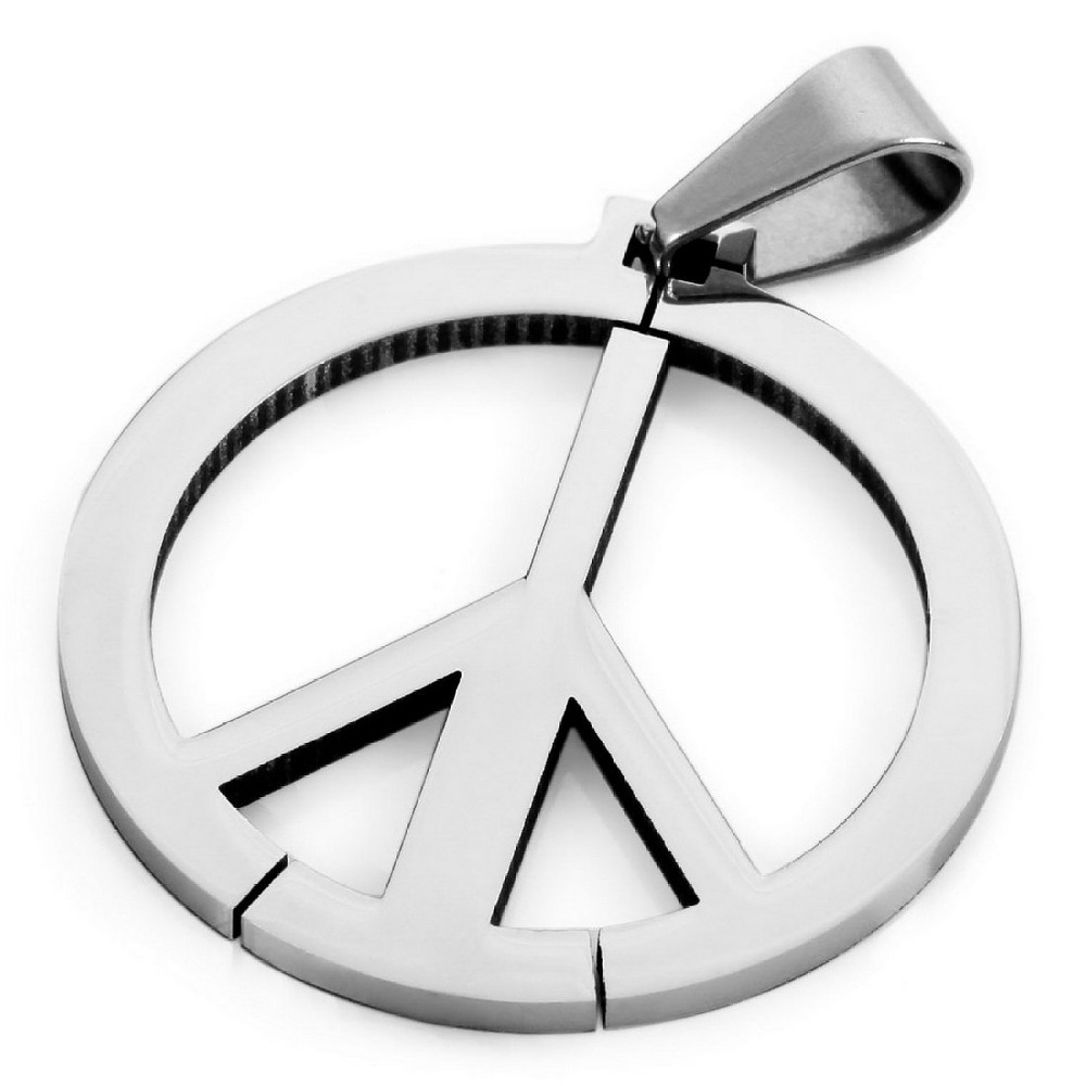 2015Men's Stainless Steel Pendant Necklace Silver Peace Symbol Classic -with 23 inch Chain Wholesale(China (Mainland))