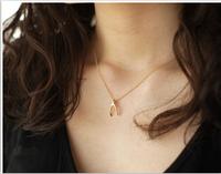 N124-8 Hot 2015 Fashion New Design Vintage Cute Wish Bone Pendants Necklaces Jewelry Wholesales Women Accessories