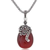 Elegant Waterdrop Retro Necklace Women CZ Pendant Necklace Silver Necklaces & Pendants Free Shipping