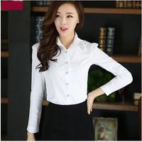 2015 spring summer women long-sleeve shirt casual slim waist blouse female shirt fashion slim shirt