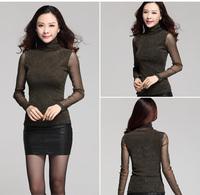 2015 spring new desigual long sleeve turtleneck patchwork mesh slim elastic women body casual t shirt blusas femininas M-XXXL
