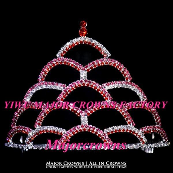 Bridal Pink Rainbow Crowns Cheap Wholesale Rhinestone Pageant Crown Tiara AL021(China (Mainland))