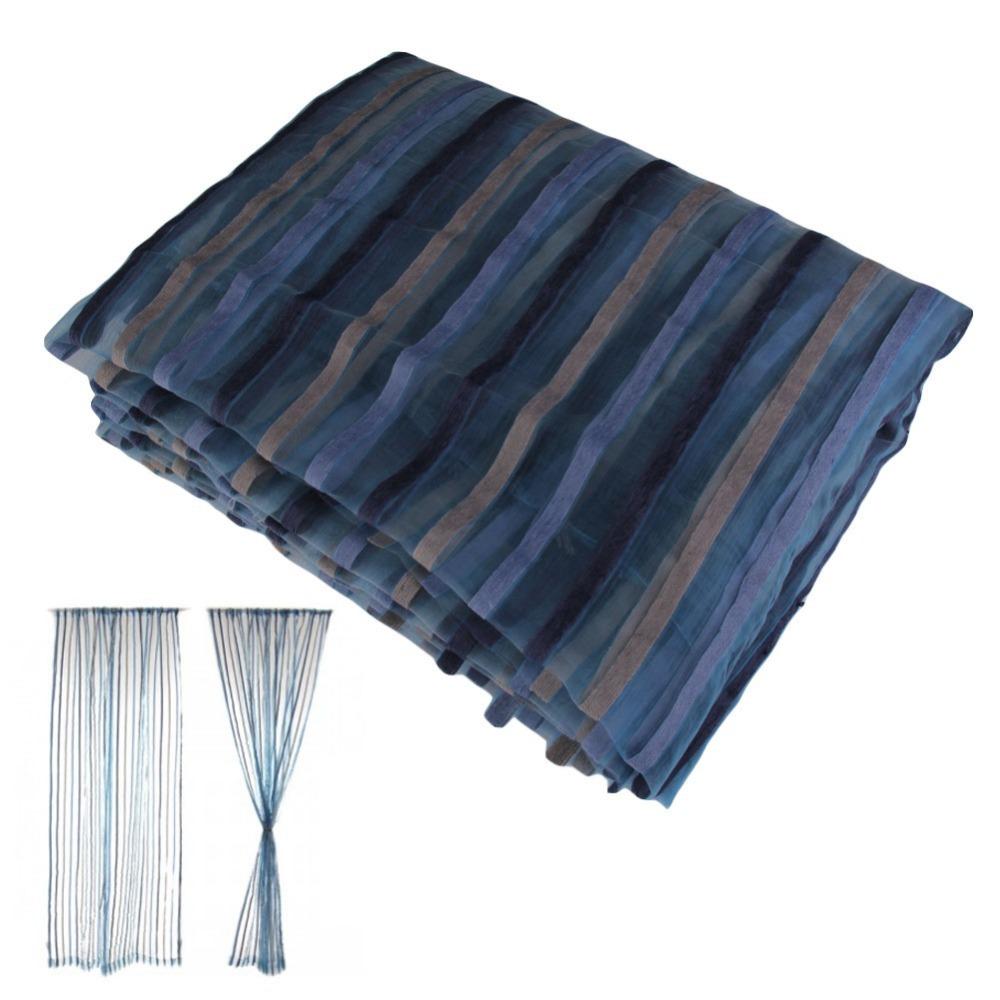 Novo 2 Pcs 140 * 240 cm cortina fio Chenille azul / cinza tarja decoração cortinas Semi cortina de luz de sombreamento E # ch(China (Mainland))