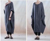 2015 Spring Original design o-neck long-sleeve spring linen one-piece dress Women Loose Casual Vintage Long Robe Linen Dresses