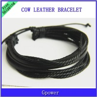 Free Shipping 2015 Fashion Jewelry Wrap Charm Genuine Leather Bracelet with Braided rope Unisex for Men & Women 2pcs/lot
