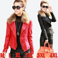 2015 Newest Winter Ladies With Faux Fur Collar Leather Jacket Women's Short Slim Pu Leather Clothes Plus Size Jaqueta Couro