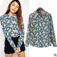 Blusas Femininas 2014 Women Blouses Vintage Dinette With Printed Chiffon Tops Long-Sleeved Shirt Casual Shirt Peter Pan Blouses