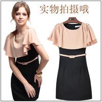 2015 summer women new fashion shawl Slim waist summer dress with belt