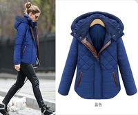 Europe and America big yards women's 2014 New Winter hooded thickened padded women short paragraph cotton jacket Jane about coat