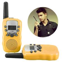 T-388 2pcs Dual Yellow Adjustable Mini Portable 5KM LCD Multi Channels 2-Way UHF Car Auto Radio Wireless Travel Walkie Talkie