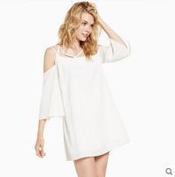 Summer models round neck strapless chiffon halter shoulder belt cross dress