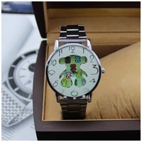 Free Shipping 2015 New Individuality Teddy Bear Casual Watch Women Dress Watch Stainless Steel Watches Fashion Quartz Wristwatch
