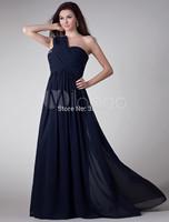 2015 Sexy One Shoulder Navy Blue Prom Dress Long Chiffon Evening Gown Party Dresses Real Image vestidos de festa vestido longo