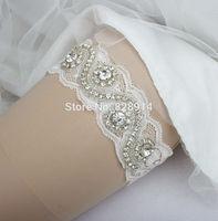 Lace Trim Rhinestones applique Bridal Garter for Wedding Handmade Free shipping